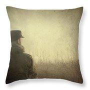 Man Alone In Autumn Field Throw Pillow