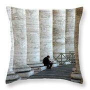 Man And Columns Throw Pillow