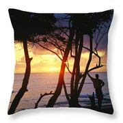 Man And Surfboard At Sunrise, Cabarete Throw Pillow