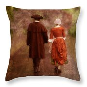 Man And Woman In 18th Century Clothing Walking Throw Pillow