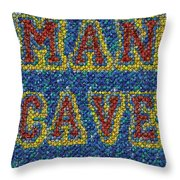 Man Cave Bottle Cap Mosaic Throw Pillow by Paul Van Scott