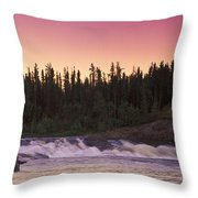 Man Fly-fishing In River Throw Pillow