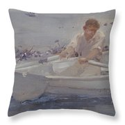 Man In A Rowing Boat Throw Pillow