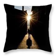 Man In Backlight Throw Pillow