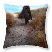 Man In Cape And Top Hat By The Sea Throw Pillow