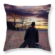 Man In Top Hat With Bag Walking Throw Pillow