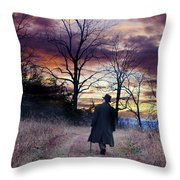 Man In Top Hat With Cane Walking Throw Pillow