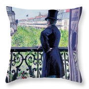 Man On A Balcony On Boulevard Haussmann Throw Pillow