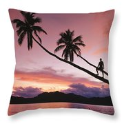 Man, Palm Trees, And Bather Silhouetted Throw Pillow