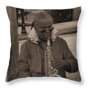 Man Playing His Saxophone Throw Pillow