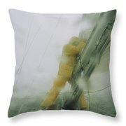 Man Reefing Mainsail In Heavy Weather Throw Pillow