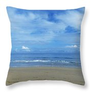 Man Riding A Pony On The Beach Throw Pillow
