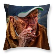 Man Smoking Throw Pillow