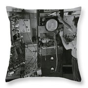 Man Testing Early Television Equipment Throw Pillow