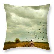 Man Walking In A Farm Field Throw Pillow