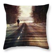 Man Walking On A Rural Winter Road Throw Pillow