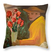 Man With Flowers  Throw Pillow