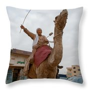 Man With His Camel Throw Pillow