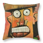 Man With Terracotta Hat And Green Shirt Throw Pillow