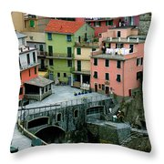 Manarola Houses On The Cinque Terre II Throw Pillow
