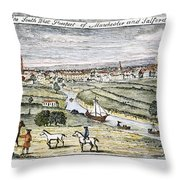 Manchester, England, 1740 Throw Pillow