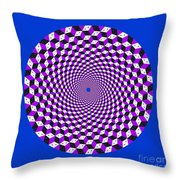 Mandala Figure Number 5 With Rhombus Steps In Black And White And Purple Throw Pillow