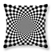 Mandala Figure Number 9 With Black And White Circles Throw Pillow