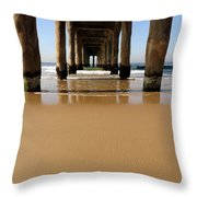 Manhattan Beach Pier Paddler Throw Pillow