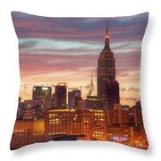 Manhattan Buildings And Pre-sunrise Sky Throw Pillow