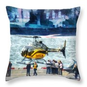 Manhattan Heliport Throw Pillow