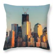 Manhattan Sunset Reflections Throw Pillow