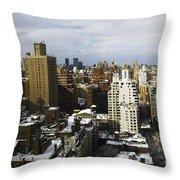 Manhattan View On A Winter Day Throw Pillow