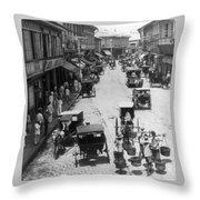 Manilla - Philippine Islands - Escolta Street Scene - C 1901 Throw Pillow