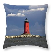 Manistique Lighthouse In Michigan's Upper Peninsula Throw Pillow