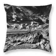Manorbier Rocks Too Mono Throw Pillow