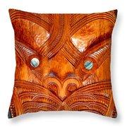 Maori Mask One Throw Pillow