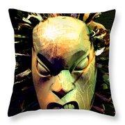 Maori Mask Two Throw Pillow