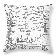 Map: Connecticut, 1661 Throw Pillow