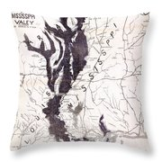 Map: Mississippi River, 1874 Throw Pillow