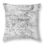 Map Of New France, 1566 Throw Pillow