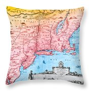 Map Of New Netherland, 1650s Throw Pillow