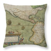 Map Of North And South America Throw Pillow