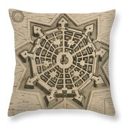 Map Of Palmanova Throw Pillow by French School