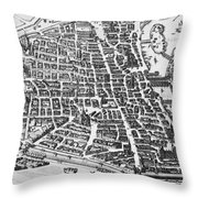 Map Of Paris Throw Pillow by German School