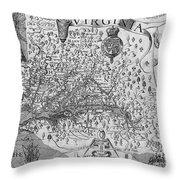 Map Of Virginia, 1624 Throw Pillow