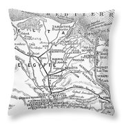 Map: Suez Canal, 1869 Throw Pillow