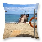 Marbella Beach In Spain Throw Pillow