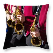 Marching Band Saxophones Cropped Throw Pillow