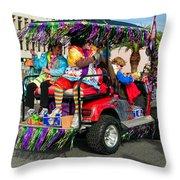 Mardi Gras Clowning Throw Pillow