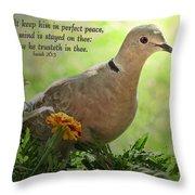 Marigold Dove With Verse Throw Pillow